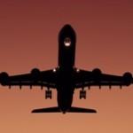 飛行機,離陸,夕焼け