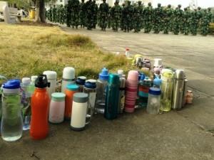 中国,軍事訓練,水筒,大学生