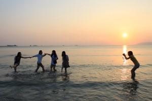 双月湾,夕日,写真撮影