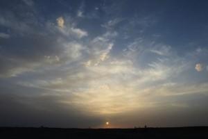 雅丹の夕日