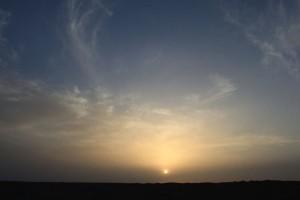 雅丹の夕焼け