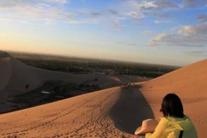 鳴沙山の夕日