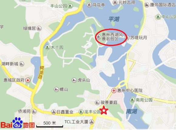 恵州西湖の地図