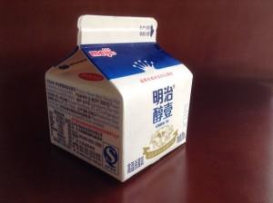 中国で買える明治の牛乳