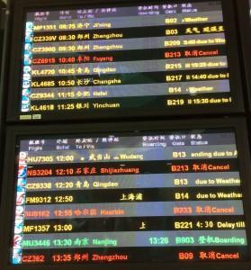 中国のフライトがPM2.5で遅延