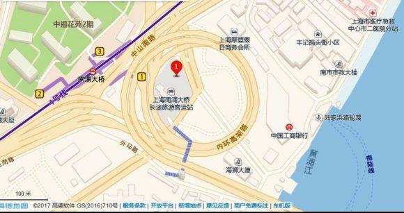上海で最も美しいバス停、南浦大桥公交枢纽站