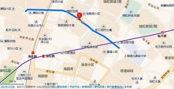 地図、上海の物華路、桜の名所