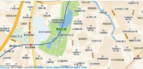 地図、虹口足球場駅の周辺