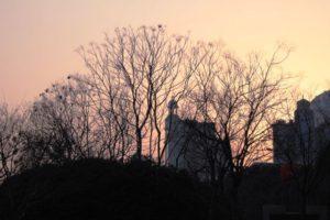 人民広場の夕焼け