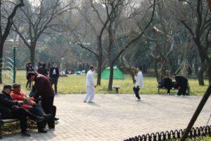 上海の中山公園、太極拳をする人