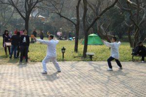 上海の中山公園、太極拳