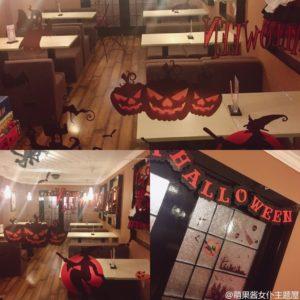 上海のメイドカフェ、店内、ハロウィンの飾り