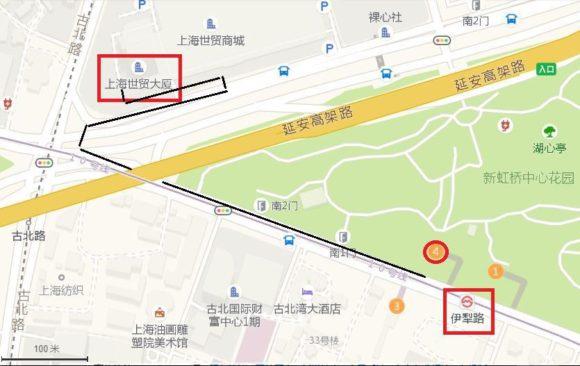 在上海日本国総領事館 - 地下鉄駅からの行き方