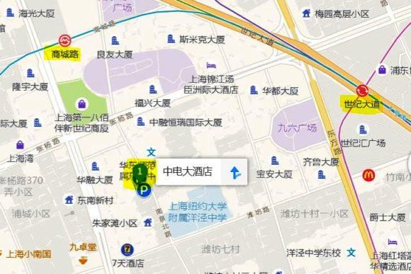 地図、上海中電大酒店