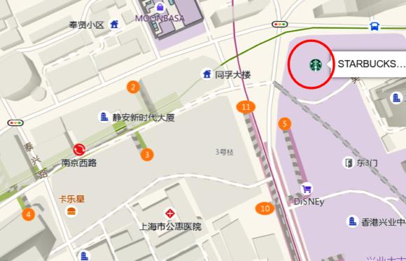 地図、リザーブ ロースタリー上海の位置